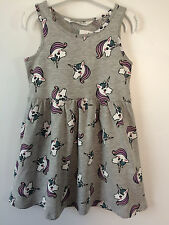 H&M PATTERNED JERSEY GIRLS SUMMER UNICORNS DRESS SIZE UK 6-7-8 YEARS