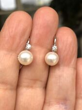 Elegant 18k Solid Gold Click-in lever back  Earrings With Diamonds & Pearls