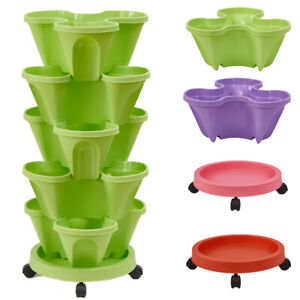 Strawberry Planter Pot Stackable Tower Gardening Vegetable Flower Plastic Pots