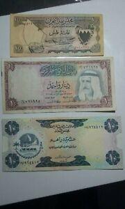 3 BANKNOTES CURRENCY BOARD EMIRATES BAHRAIN KUWAIT