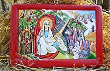 Coptic Nativity Icon Acrylic Painting Religious Gesso Art Home Decor Gifts