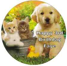 "Puppies And Kittens 7.5"" Personalised Cake Topper Edible Wafer Paper"