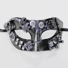 Steampunk Costume Theater Masquerade Mask for Men M39028 - Metallic Silver