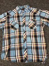 Vtg Wrangler USA Pearl Snap Plaid Western Rockabilly Shirt Men's Xl Blue Rodeo