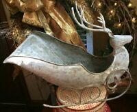 Christmas Metal Reindeer Deer Sleigh Sled Primitive Country Farmhouse Distressed