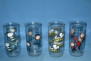 Lot 4 VTG 1950'S 60'S SNOOPY/CHARLIE BROWN/Lucy JELLY JAR DRINKING GLASSES!