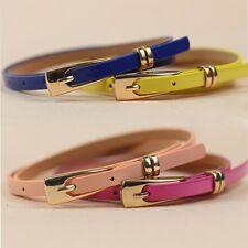 Lady Girl Buckle Multicolor Women Decoration Narrow Skinny Belt Thin Waist