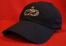 USAF Senior Maintenance / Munitions Silver Badge ball cap low-profile BLUE hat