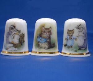 Birchcroft Thimbles -- Set of Three -- Beatrix Potter Cats