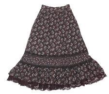 Vintage 1970s GUNNE SAX Calico Floral Lace Praire Victorian Black Skirt sz 5 XS