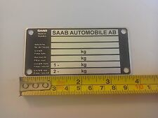 ID CHASSIS PLATE CLASSIC SAAB 95  96  900 TURBO ETC NEW