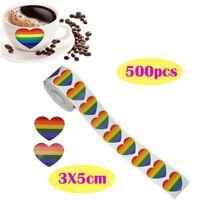 New 500Pcs/Roll Love Rainbow Ribbon Stickers Gay Pride Stripes Heart Shaped Roll