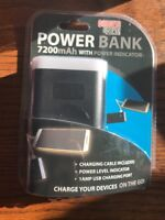 7200mAh Power Bank Black 1 AMP USB Port Charging Cable Charge Phones(new)