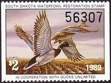 1989 South Dakota State Duck Stamp Mint Never Hinged VF