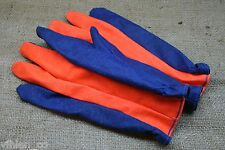 Edmont ~ Vinyl Impregnated Cotton Scuba Diving Gloves Jet Ski Orange Blue Medium