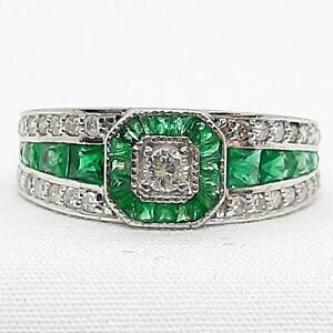 $5,399 Solid Platinum 1.63ctw Old Cut Diamond & Emerald French Cut Ring 4.7g