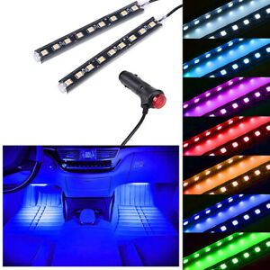 Blue LED Car Interior Accessories Floor Decora Atmosphere Strip Lamp Lights 2x