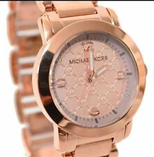 NEW MICHAEL KORS JANEY BRACELET ROSE GOLD MK LOGO WOMEN'S WATCH MK3159