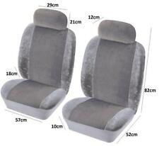 Hard Wearing Fabric Velour Front Pair Of Grey Car Seat Covers Protectors
