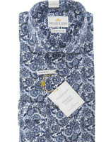 """Taylor & Hunt Shirt NWT Mens Tailored Fit Blue White Paisley Floral Cotton 15.5"""""""