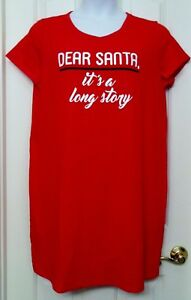 NWT Christmas - DEAR SANTA. IT'S A LONG STORY - Sleep shirt Nightgown Sleepwear