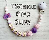 Personalised Wooden Dummy Clip Crochet Bead Lilac Pink Purple Girls Rabbit Girl