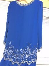 Miss Elliette ~ Women's Vintage Sequined High Low Dress ~ Size 12 ~ Cobalt Blue