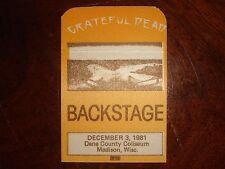 Vintage GRATEFUL DEAD BACKSTAGE PASS Madison, WI Dane County Coliseum 12/3/81