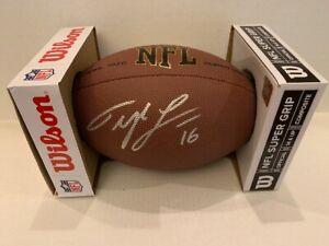 Tyler Lockett Signed Wilson NFL 1455 Football Seattle Seahawks WR COA Hologram