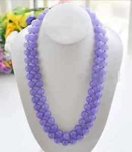 """Beautiful Natural 10mm Lavender Jade Round Gemstone Beads Necklace 18""""-48''AAA"""