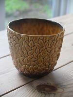 1950s Sylvac leaf patterned beige/brown flower pot
