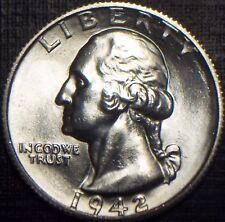 SEMI KEY 1942-S WASHINGTON QUARTER BU,MS,MS BLAST WHITE + SUPER LUSTER LQQK!!!