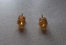 14ct Solid Yellow Gold Stud Earrings, 6mm Gemstone