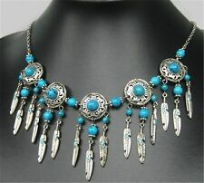Charming Style Tibetan Silver Turquoise Beads Feather Handmade Necklace