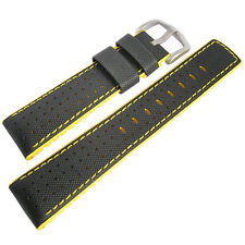 20mm Hirsch Performance Robby Black Sailcloth and Yellow Rubber Watch Band Strap