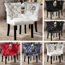 2pcs Crushed Velvet Tufted High Back Dining Chairs Seat Chrome Ring Knocker Home