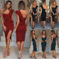 Women Bodycon One Shoulder Sleeveless Evening Party Cocktail Club Mini Dress New