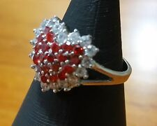 Sterling Silver Ring Heart Shape Setting with Red and White stones