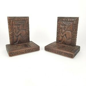 Vintage Bookends Wood Aztec Mayan Warrior Hand Carved