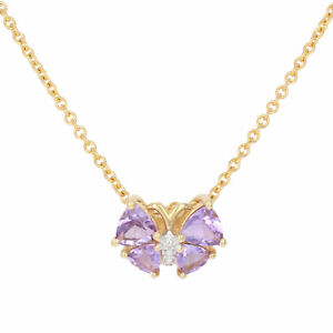 """Stainless Steel Amethyst Pendant Necklace 17 3/4"""" -Gold Plated 1.20ctw Butterfly"""