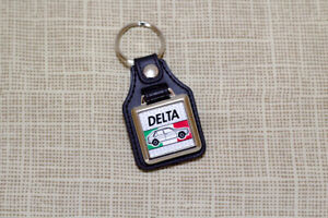 Lancia Delta Keyring - Leatherette & Chrome Keytag