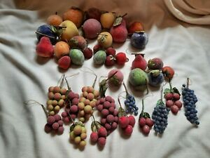42 pc. faux sugared beaded fruit ornaments crafts decor vintage