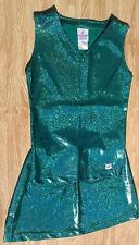 WOW Super Shine Emerald Green Real Cheerleader Dance Uniform Top Skirt Adult M/L