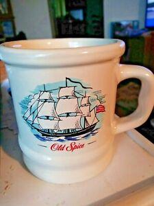 Vintage Old Spice SHAVING MUG Coffee Ceramic Grand Turk Ship & American Flag exc