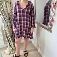 Masai XL 16 18 purple checked smock dress long sleeve casual lagen look