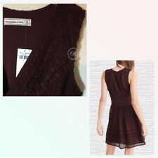 NWT Abercrombie & Fitch Womens V-neckline Lace Skater Dress Burgundy $78 Size 8