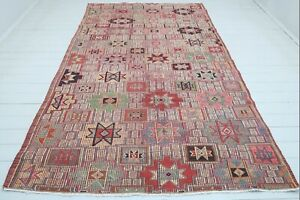 "Turkish Sardes Kilim Rugs, Living Area Rug, Stars Design Kelim, Carpet 71""X116"""