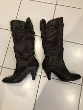 Clarks Dark Brown Size 7 Leather Long Leg Knee High Heeled Smart Casual Boot