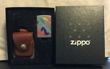 New listing Zippo Classic Peace in Rainbow Color Satin Chrome Z274 Leather Case Gift Box