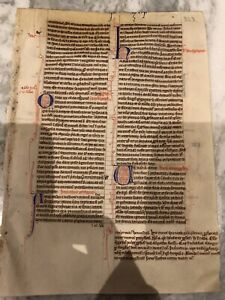13th - 14th Century manuscript from the book of Amos. Old Master